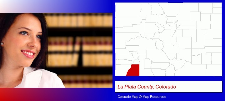 a young, female attorney in a law library; La Plata County, Colorado highlighted in red on a map