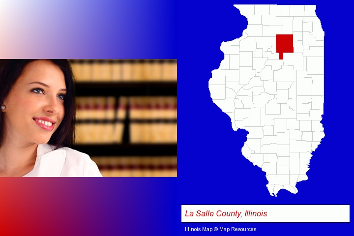 a young, female attorney in a law library; La Salle County, Illinois highlighted in red on a map