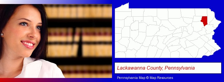 a young, female attorney in a law library; Lackawanna County, Pennsylvania highlighted in red on a map