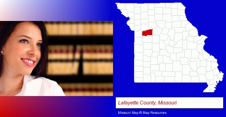 a young, female attorney in a law library; Lafayette County, Missouri highlighted in red on a map