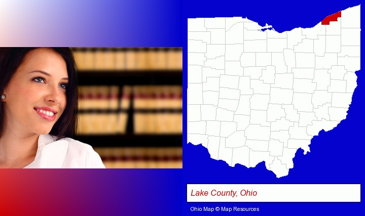 a young, female attorney in a law library; Lake County, Ohio highlighted in red on a map