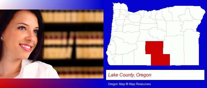 a young, female attorney in a law library; Lake County, Oregon highlighted in red on a map