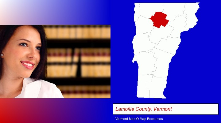a young, female attorney in a law library; Lamoille County, Vermont highlighted in red on a map