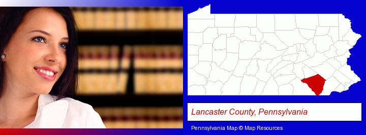 a young, female attorney in a law library; Lancaster County, Pennsylvania highlighted in red on a map