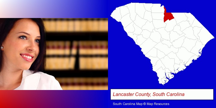 a young, female attorney in a law library; Lancaster County, South Carolina highlighted in red on a map