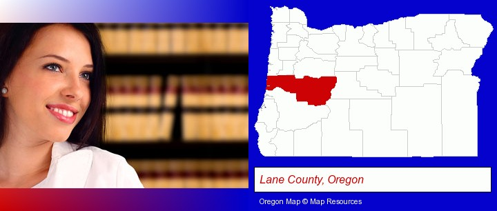 a young, female attorney in a law library; Lane County, Oregon highlighted in red on a map