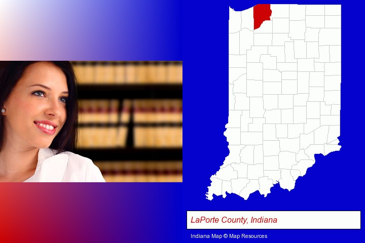 a young, female attorney in a law library; LaPorte County, Indiana highlighted in red on a map