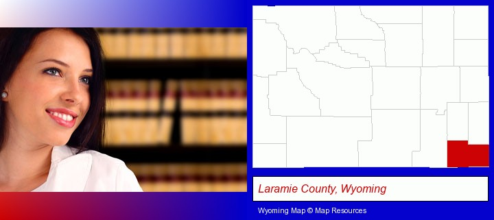 a young, female attorney in a law library; Laramie County, Wyoming highlighted in red on a map
