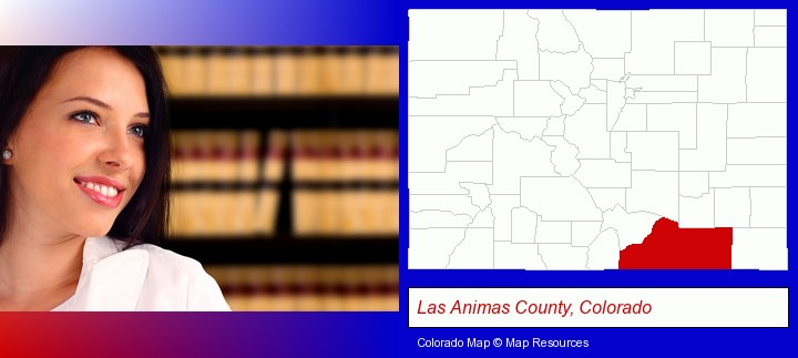 a young, female attorney in a law library; Las Animas County, Colorado highlighted in red on a map