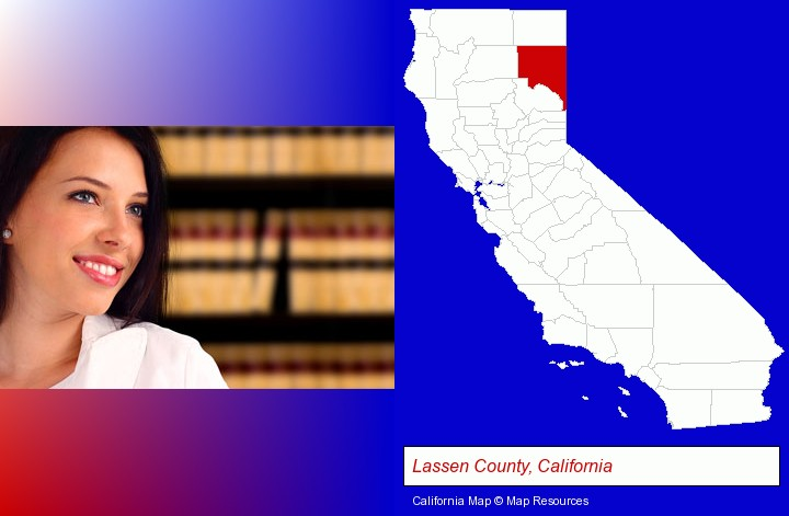 a young, female attorney in a law library; Lassen County, California highlighted in red on a map