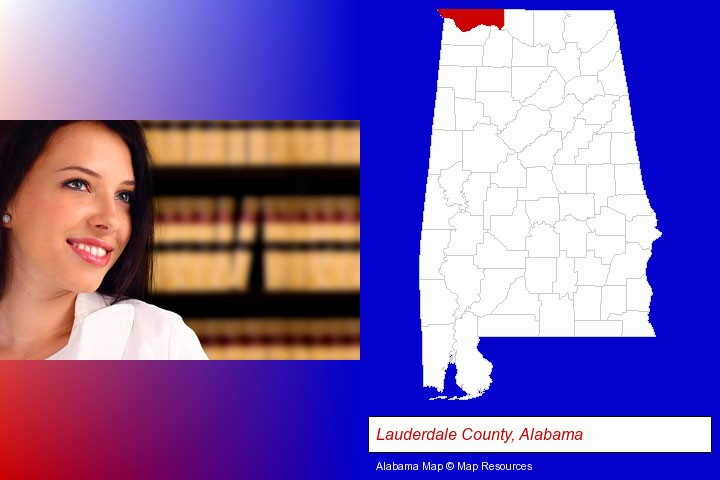 a young, female attorney in a law library; Lauderdale County, Alabama highlighted in red on a map