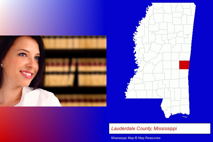 a young, female attorney in a law library; Lauderdale County, Mississippi highlighted in red on a map