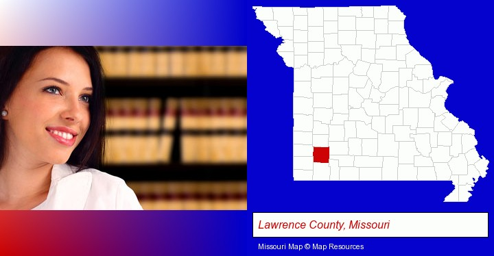 a young, female attorney in a law library; Lawrence County, Missouri highlighted in red on a map