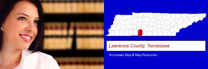 a young, female attorney in a law library; Lawrence County, Tennessee highlighted in red on a map