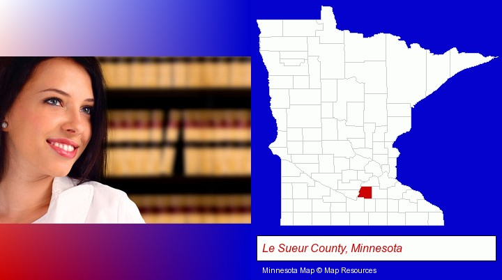 a young, female attorney in a law library; Le Sueur County, Minnesota highlighted in red on a map