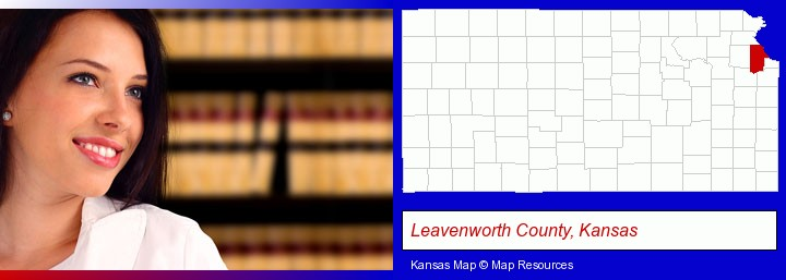 a young, female attorney in a law library; Leavenworth County, Kansas highlighted in red on a map