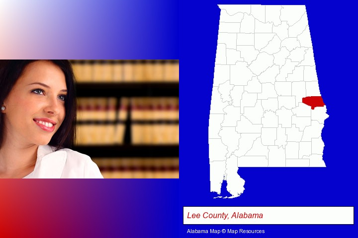 a young, female attorney in a law library; Lee County, Alabama highlighted in red on a map