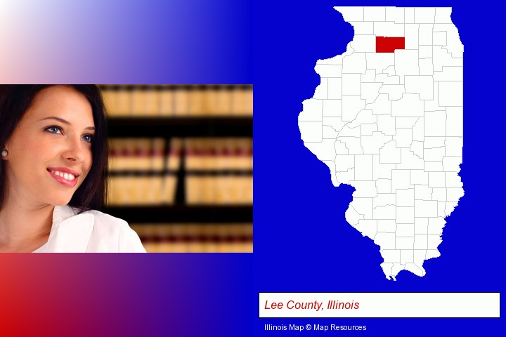 a young, female attorney in a law library; Lee County, Illinois highlighted in red on a map