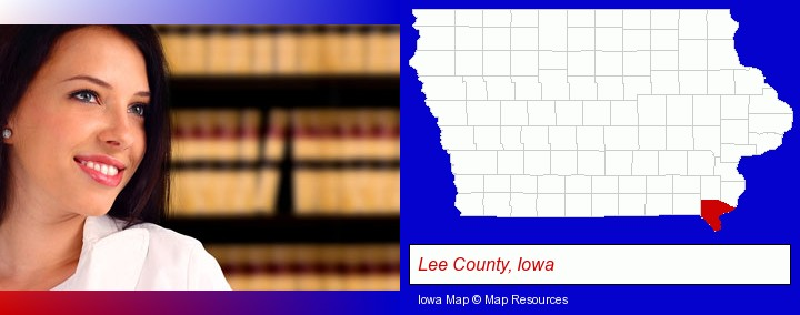 a young, female attorney in a law library; Lee County, Iowa highlighted in red on a map