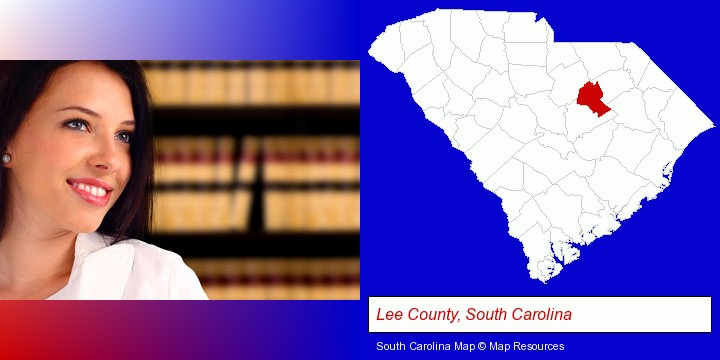 a young, female attorney in a law library; Lee County, South Carolina highlighted in red on a map