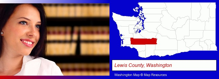 a young, female attorney in a law library; Lewis County, Washington highlighted in red on a map