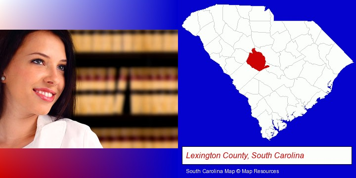 a young, female attorney in a law library; Lexington County, South Carolina highlighted in red on a map