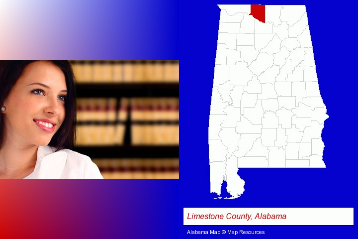 a young, female attorney in a law library; Limestone County, Alabama highlighted in red on a map