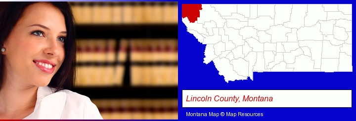 a young, female attorney in a law library; Lincoln County, Montana highlighted in red on a map