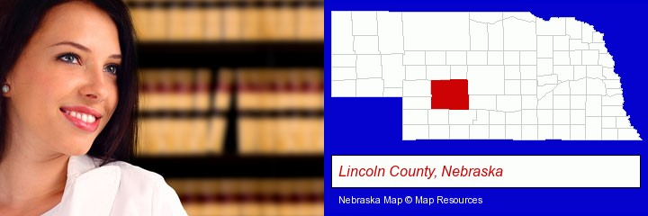 a young, female attorney in a law library; Lincoln County, Nebraska highlighted in red on a map