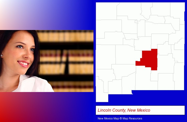 a young, female attorney in a law library; Lincoln County, New Mexico highlighted in red on a map
