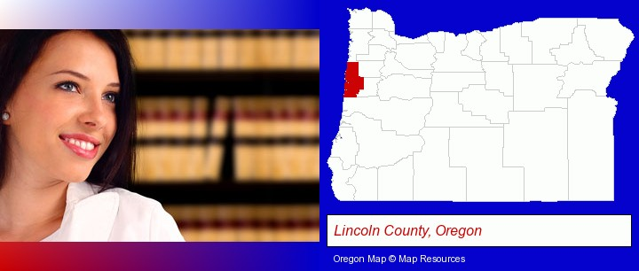 a young, female attorney in a law library; Lincoln County, Oregon highlighted in red on a map