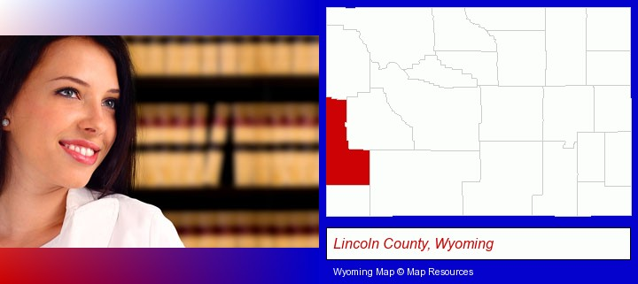 a young, female attorney in a law library; Lincoln County, Wyoming highlighted in red on a map