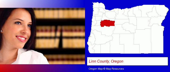 a young, female attorney in a law library; Linn County, Oregon highlighted in red on a map