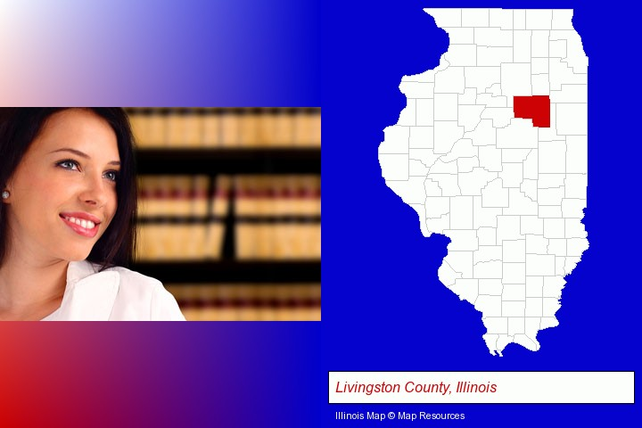 a young, female attorney in a law library; Livingston County, Illinois highlighted in red on a map