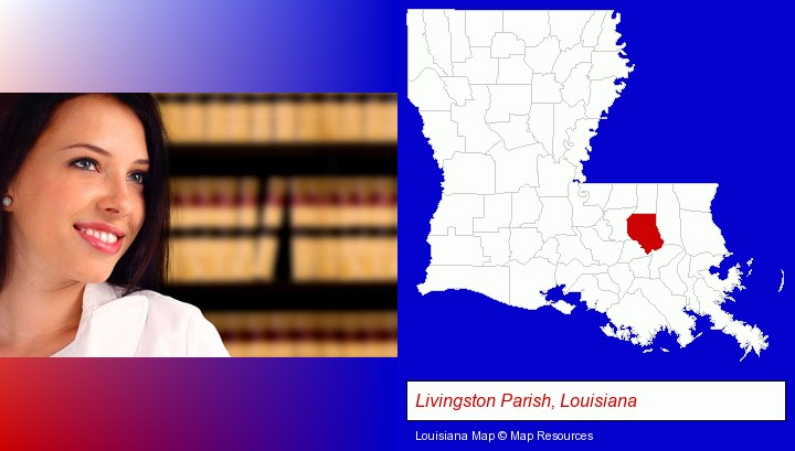 a young, female attorney in a law library; Livingston Parish, Louisiana highlighted in red on a map