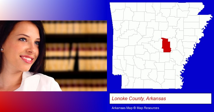 a young, female attorney in a law library; Lonoke County, Arkansas highlighted in red on a map