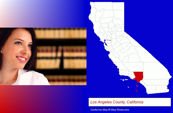 a young, female attorney in a law library; Los Angeles County, California highlighted in red on a map
