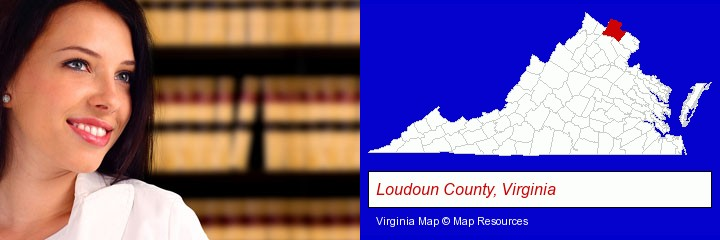 a young, female attorney in a law library; Loudoun County, Virginia highlighted in red on a map