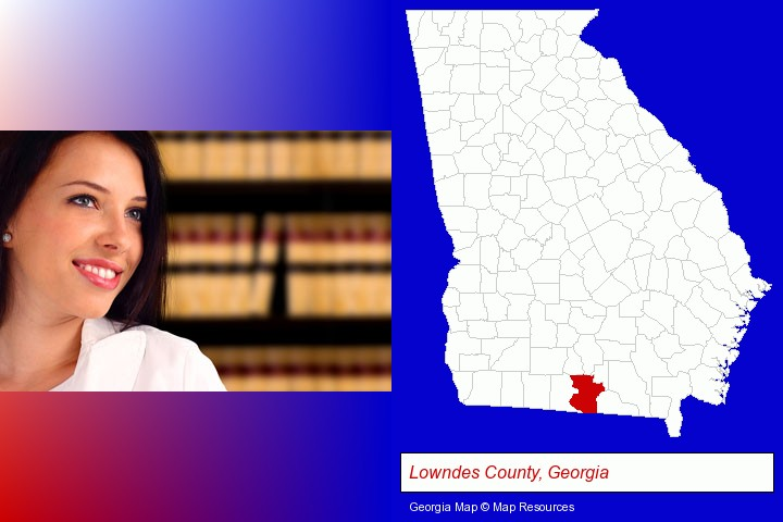 a young, female attorney in a law library; Lowndes County, Georgia highlighted in red on a map