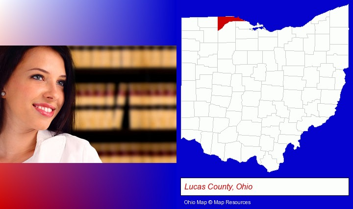 a young, female attorney in a law library; Lucas County, Ohio highlighted in red on a map