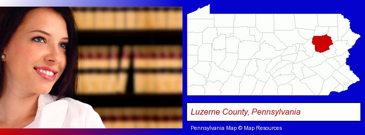 a young, female attorney in a law library; Luzerne County, Pennsylvania highlighted in red on a map