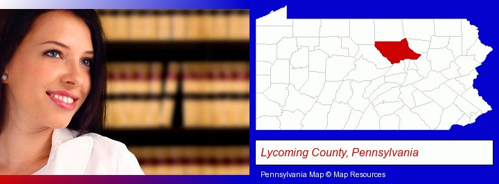 a young, female attorney in a law library; Lycoming County, Pennsylvania highlighted in red on a map