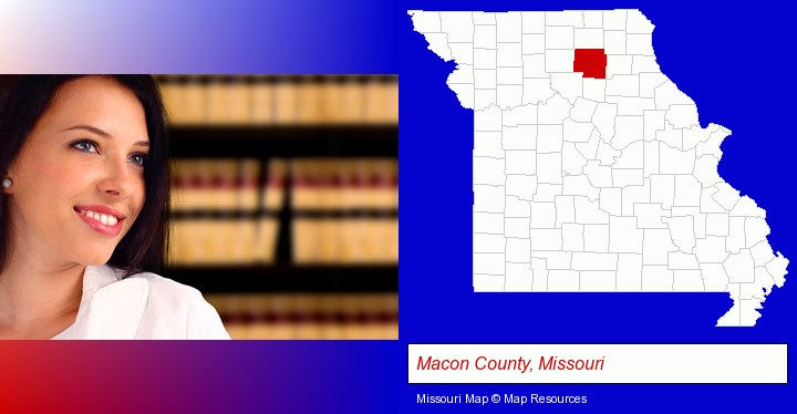 a young, female attorney in a law library; Macon County, Missouri highlighted in red on a map