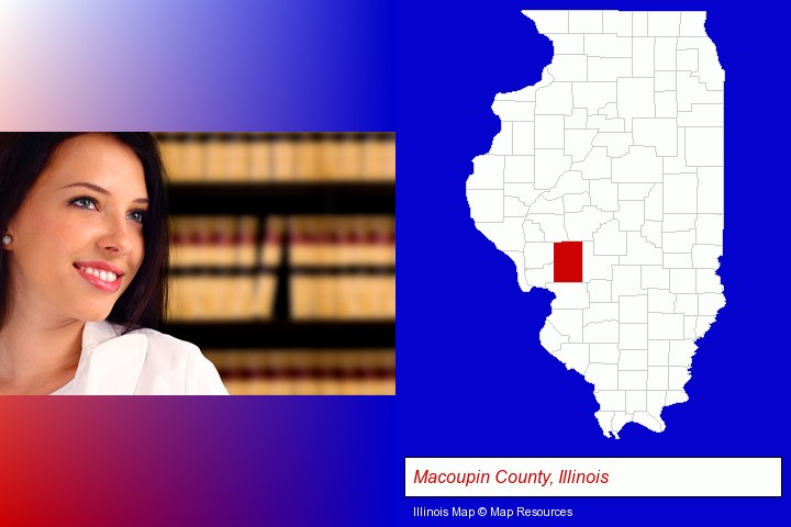 a young, female attorney in a law library; Macoupin County, Illinois highlighted in red on a map