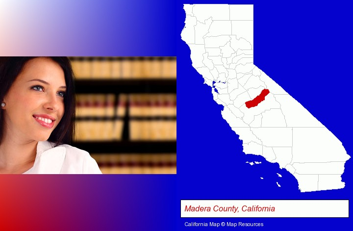 a young, female attorney in a law library; Madera County, California highlighted in red on a map