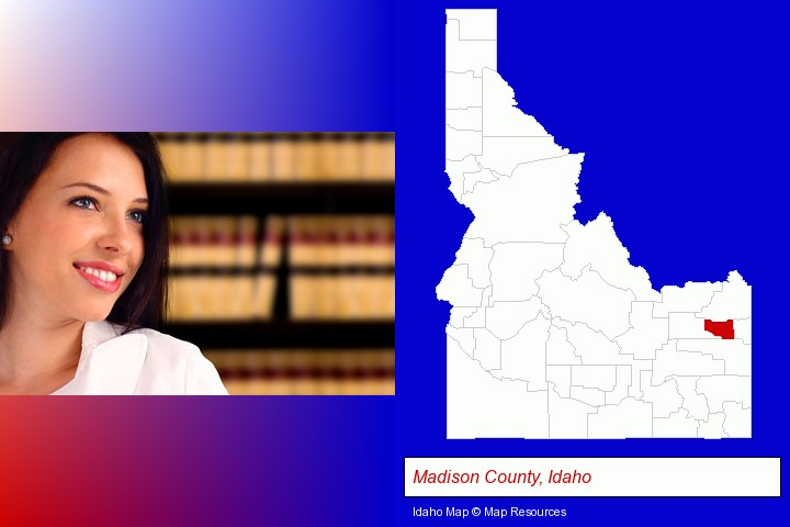 a young, female attorney in a law library; Madison County, Idaho highlighted in red on a map