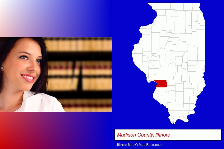 a young, female attorney in a law library; Madison County, Illinois highlighted in red on a map