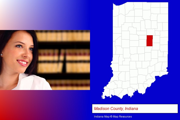 a young, female attorney in a law library; Madison County, Indiana highlighted in red on a map