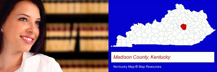 a young, female attorney in a law library; Madison County, Kentucky highlighted in red on a map