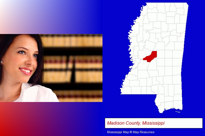 a young, female attorney in a law library; Madison County, Mississippi highlighted in red on a map